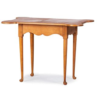 A Queen Anne Style Tiger Maple Porringer Top Tavern Table