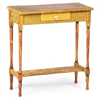 A Classical Style Fancy Grain-Painted One-Drawer Side Table