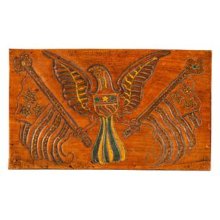 An Eagle and Flag Relief Carved and Paint Decorated Maple Board, likely mid-19th Century