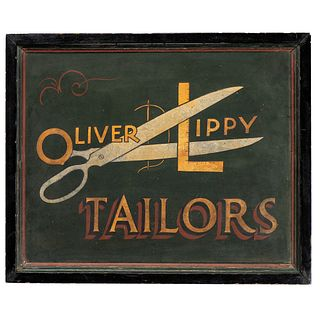 An Oliver Lippy Tailors Painted Hardboard Trade Sign, Manchester, Maryland