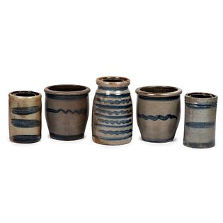 Five Western Pennsylvania Stoneware Vessels