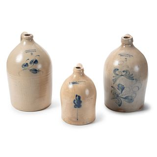 Three Bennington, Vermont Stoneware Jugs