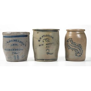 Three Western Pennsylvania Stoneware Jars