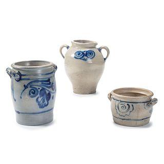 Three Westerwald-Style Stoneware Vessels