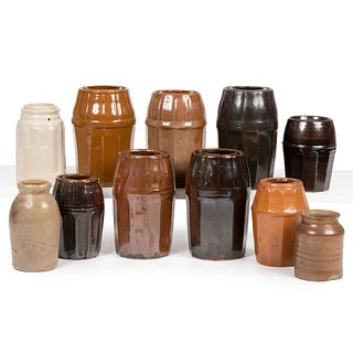 Eleven Glazed Stoneware Fruit and Canning Jars