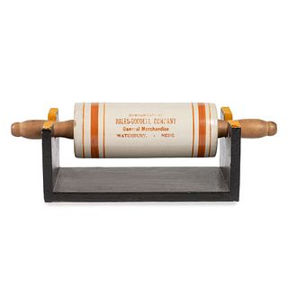 A Stoneware Advertising Rolling Pin