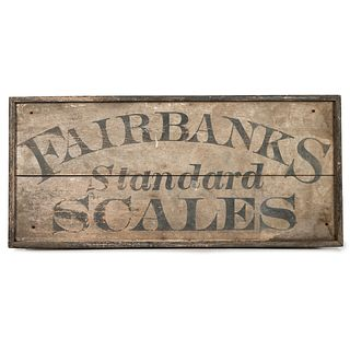 A Wooden Sign in Old Paint Advertising Fairbanks Standard Scales, Circa 1860s