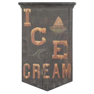 A Painted Wood Ice Cream Advertising Sign, Circa 1850-60
