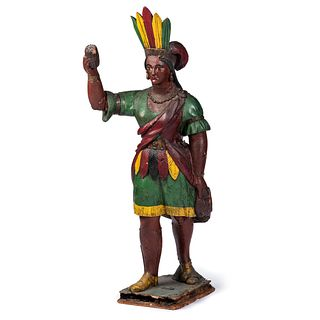 A Carved and Polychrome Painted Pine Native American Maiden Cigar Store Figure, Manner of Samuel Anderson Robb, probably New York, Circa 1900