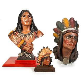 Three Painted Molded Plaster Cigar Store Indian Busts