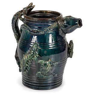 """A Rare Midwestern Manganese-Glazed """"Temperance"""" Pitcher"""