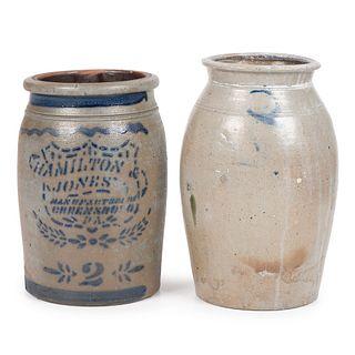 Two Western Pennsylvania Two Gallon Stoneware Jars
