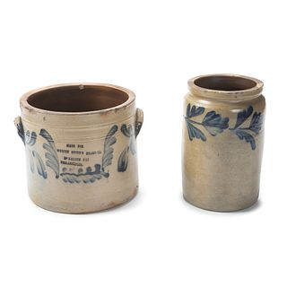 Two Cobalt-Decorated Stoneware Vessels Attributed to Remmey