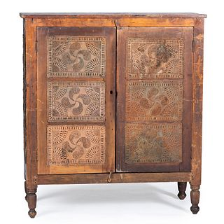 A Country Red Stained Fylfot Punched Tin  Pie Safe