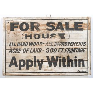 A Stenciled Wood Property Sale Sign