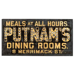 A Pierced Tin Putnam's Dining Rooms Advertising Sign, Lowell, Massachusetts