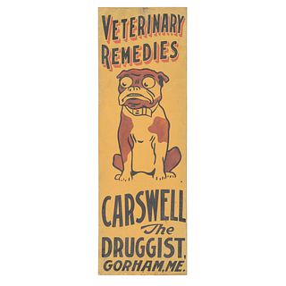 A Painted Tin Carswell the Druggist Advertising Sign, Gorham, Maine