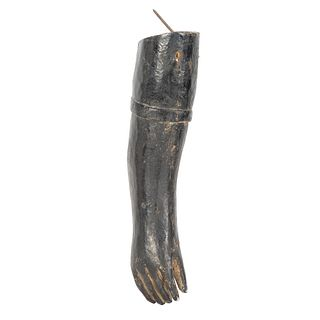 A Painted and Carved Wooden Arm