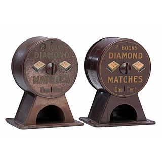 """Two Diamond Matches """"2 Books for 1 Cent"""" Match Dispensers, Circa 1920"""