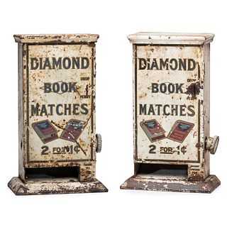 Two Lithograph Decorated Diamond Matches Penny Match Dispensers