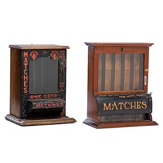 Two Wood and Painted Metal Countertop Penny Match Dispensers