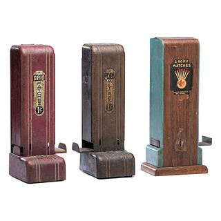 Three Art Deco Penny Match Dispensers