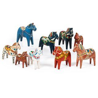 Nine Swedish Dala Horses