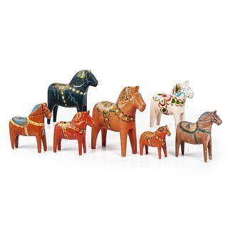 Seven Swedish Dala Horses