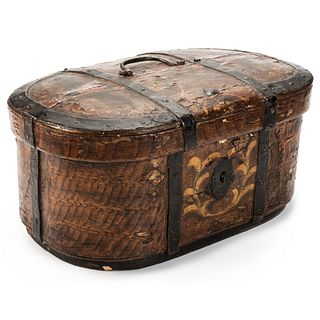 A Scandinavian Oval Painted Trunk