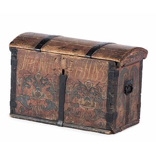 A Scandinavian Domed Top Painted Trunk