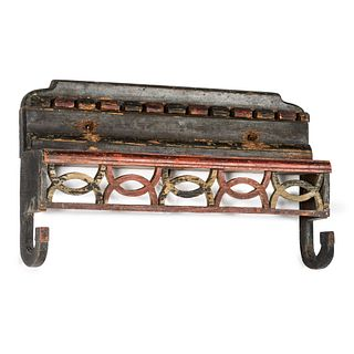 A Scandinavian Carved and Paint Decorated Wooden Kitchen Rack