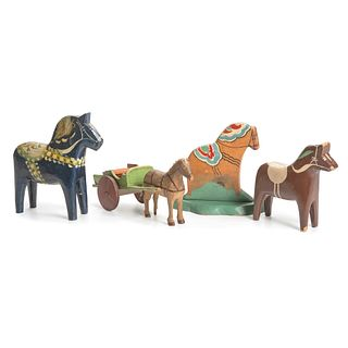 Four Swedish Carved and Painted Horses, Including Dalas