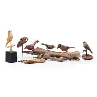 Five Painted Folk Art Bird Carvings