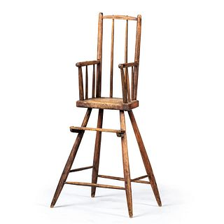 A Primitive Mixed Woods Child's High Chair