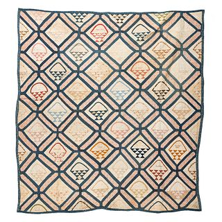 A Basket Decorated Autograph Quilt, for Phoebe A. Rapelye, 1862