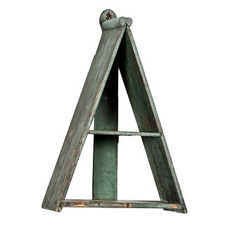 An A-Frame Pine Hanging Wall Shelf in Old Blue Paint