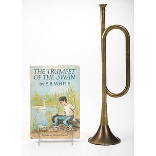 A Painted Trumpet of the Swan Plaque with Trumpet and Book