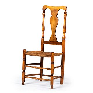 A Queen Anne Mixed Woods Rush Seat Side Chair