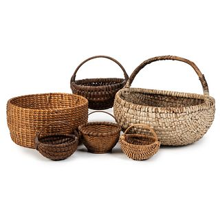 Six Baskets, Including Spilt Oak and Painted Examples