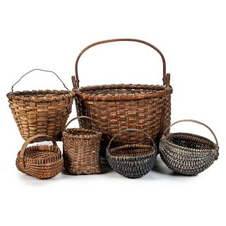 Six Split Oak Baskets with Handles