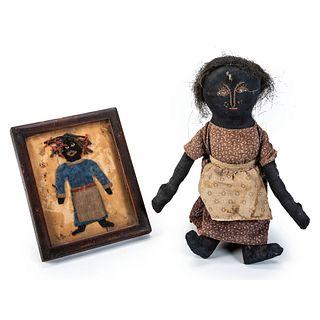 Two Folk Art Black Americana Figures