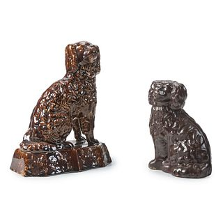 Two Pottery Spaniels