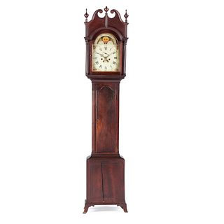 A Late Chippendale Star-Inlaid Stained Cherrywood Tall Case Clock, Likely Kentucky, Circa 1800