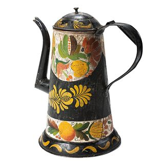 A Paint Decorated Tin Coffeepot