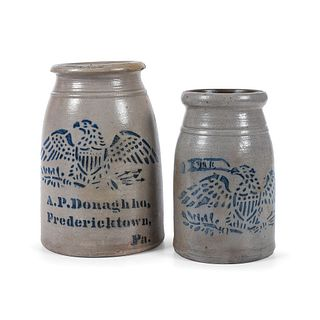 Two Pennsylvania Stoneware Canning Jars With Cobalt-Stenciled Eagles