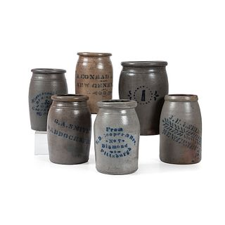 Six Western Pennsylvania Stoneware Jars with Stenciled Cobalt Decoration