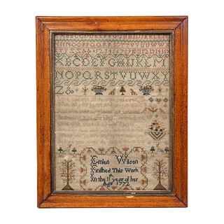 An English Embroidered Needlework Sampler, Emlen Wilson, 1772