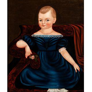 American School Folk Art Portrait, Circa 1840