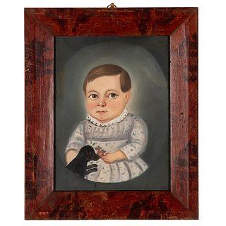 American School Folk Art Portrait, Mid-19th Century