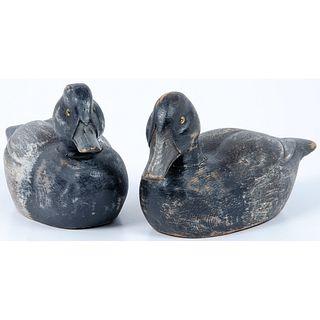 A Rare Pair of Bluebill Decoys by Warren Dettman (1904-1979)
